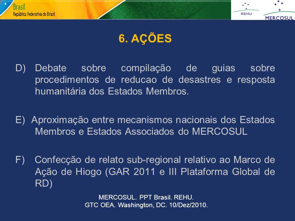6. AÇÕES D) Debate sobre compilação de guias sobre procedimentos de reducao de desastres e resposta humanitária dos Estados Membros.