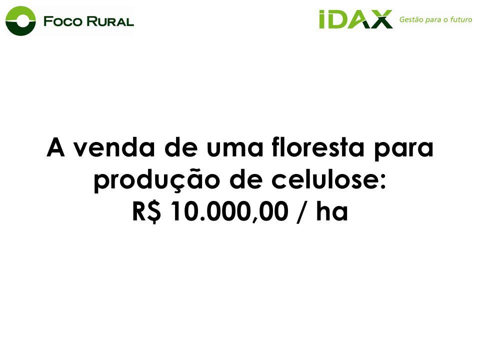 A venda de uma floresta para produção de celulose: R$ 10.000,00 / ha
