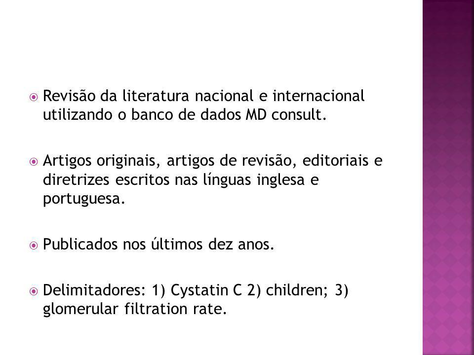 Revisão da literatura nacional e internacional utilizando o banco de dados MD consult.
