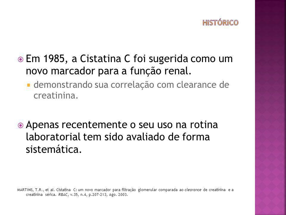 histórico Em 1985, a Cistatina C foi sugerida como um novo marcador para a função renal. demonstrando sua correlação com clearance de creatinina.
