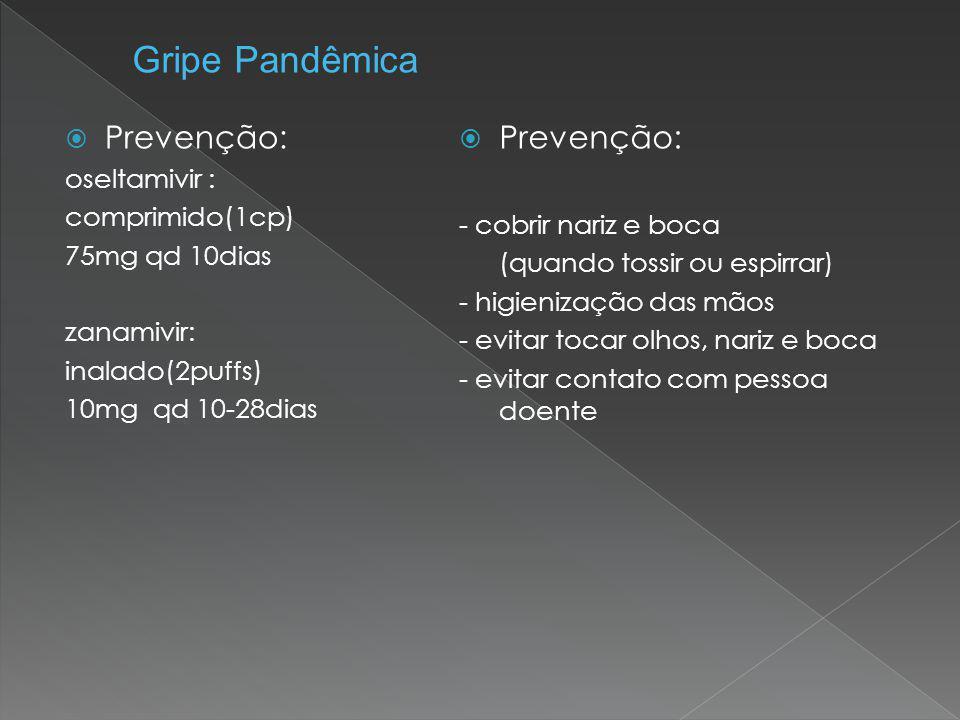Gripe Pandêmica Prevenção: Prevenção: oseltamivir : comprimido(1cp)