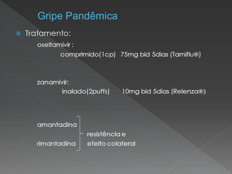 Gripe Pandêmica Tratamento: oseltamivir : amantadina