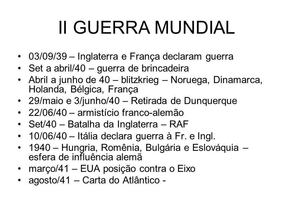 II GUERRA MUNDIAL 03/09/39 – Inglaterra e França declaram guerra