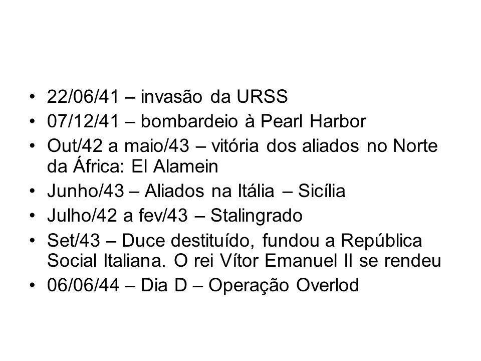 22/06/41 – invasão da URSS 07/12/41 – bombardeio à Pearl Harbor. Out/42 a maio/43 – vitória dos aliados no Norte da África: El Alamein.