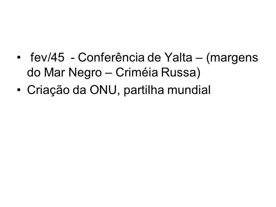 fev/45 - Conferência de Yalta – (margens do Mar Negro – Criméia Russa)