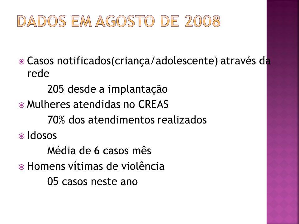 Dados em agosto de 2008 Casos notificados(criança/adolescente) através da rede. 205 desde a implantação.