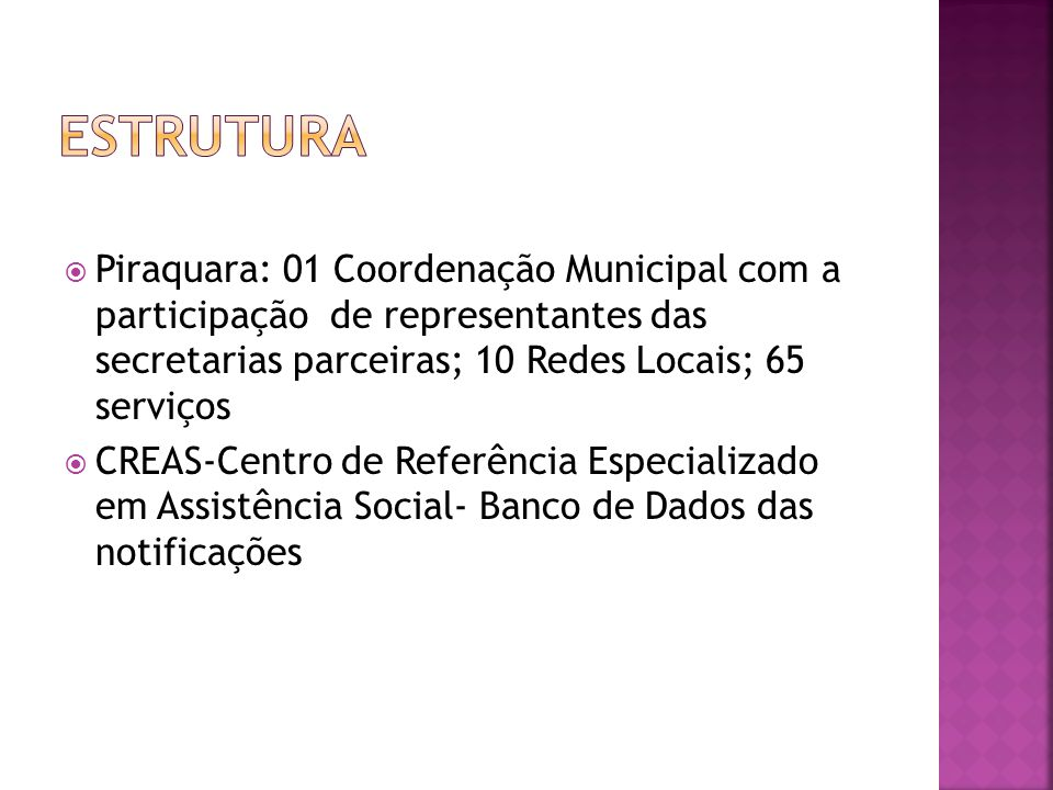 ESTRUTURA Piraquara: 01 Coordenação Municipal com a participação de representantes das secretarias parceiras; 10 Redes Locais; 65 serviços.