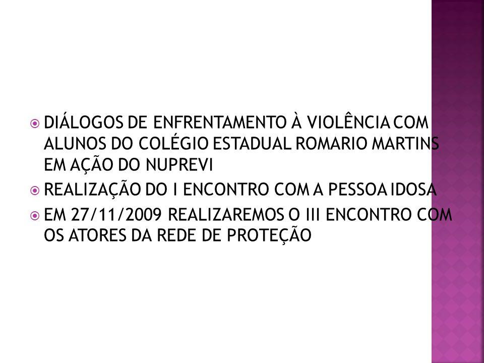 DIÁLOGOS DE ENFRENTAMENTO À VIOLÊNCIA COM ALUNOS DO COLÉGIO ESTADUAL ROMARIO MARTINS EM AÇÃO DO NUPREVI