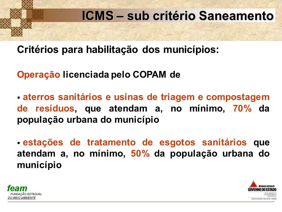 ICMS – sub critério Saneamento