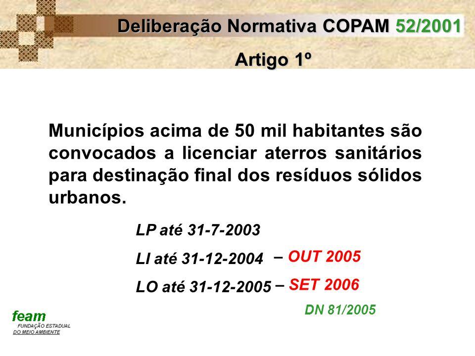 Deliberação Normativa COPAM 52/2001 Artigo 1º