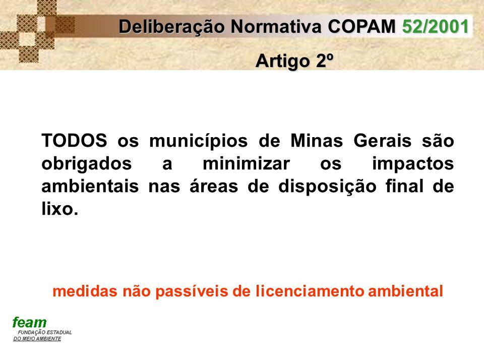 Deliberação Normativa COPAM 52/2001 Artigo 2º