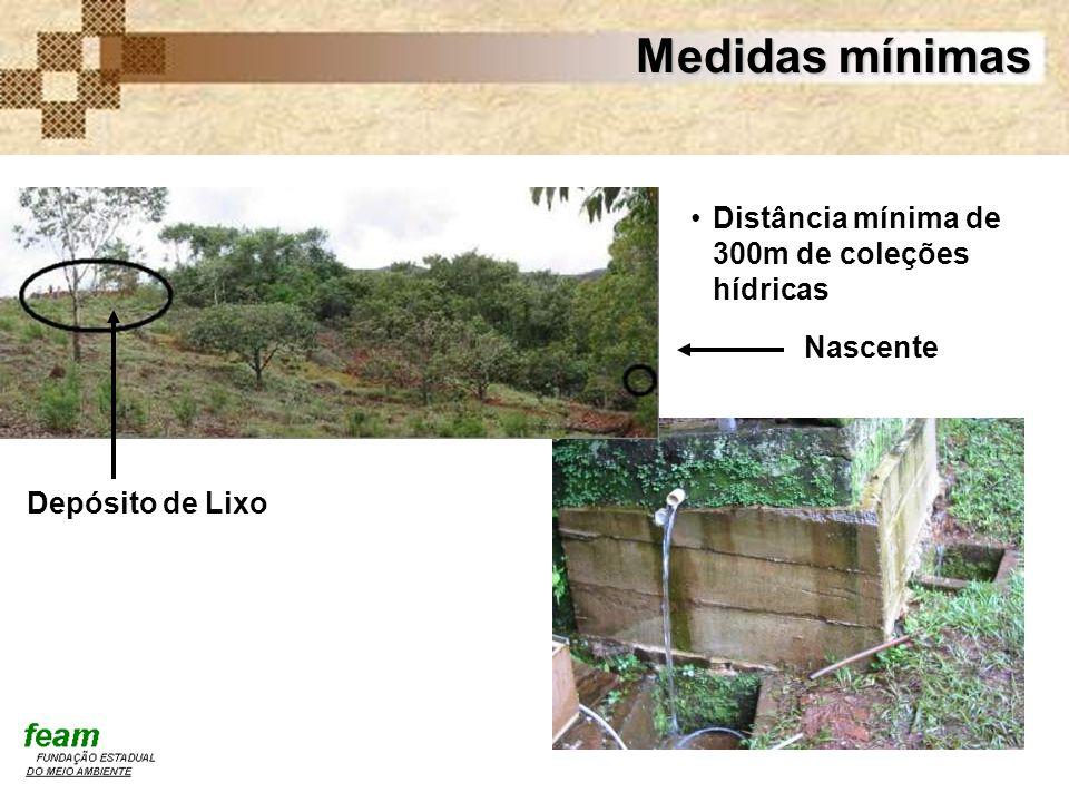 Medidas mínimas Distância mínima de 300m de coleções hídricas Nascente
