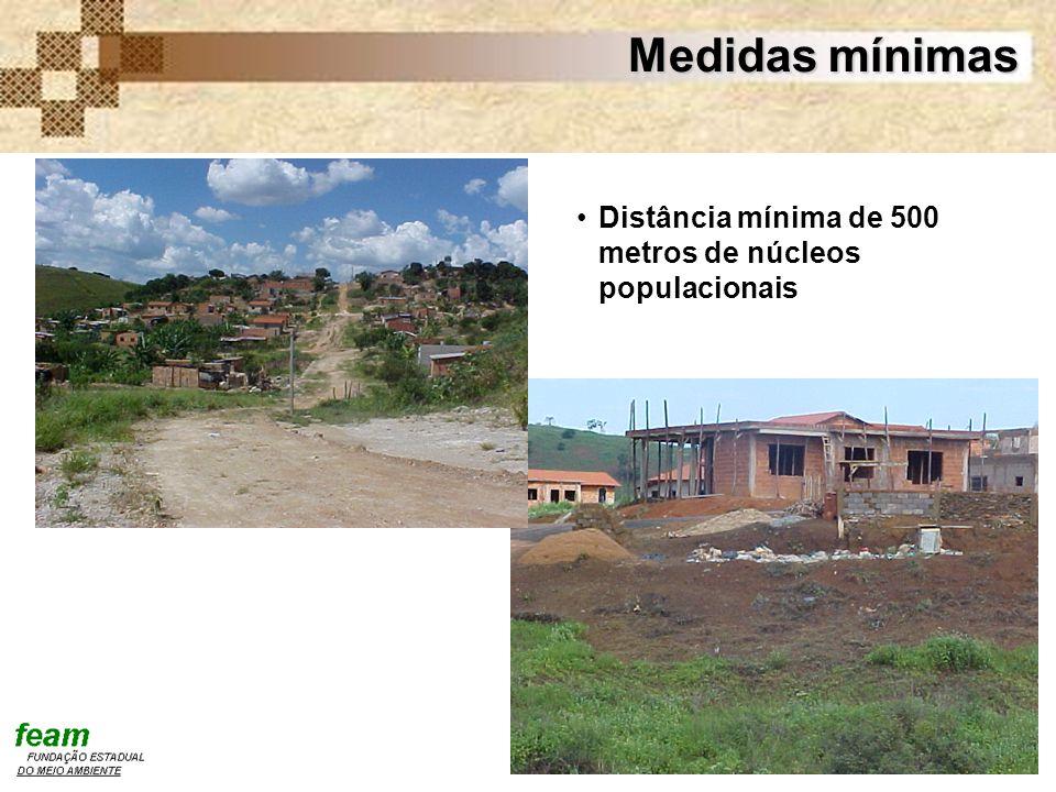 Medidas mínimas Distância mínima de 500 metros de núcleos populacionais
