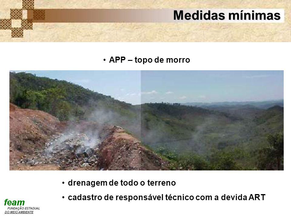 Medidas mínimas APP – topo de morro drenagem de todo o terreno