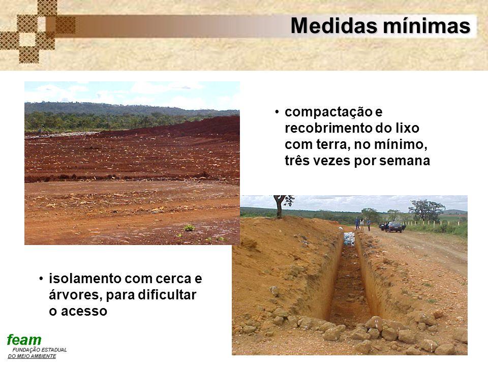 Medidas mínimas compactação e recobrimento do lixo com terra, no mínimo, três vezes por semana.