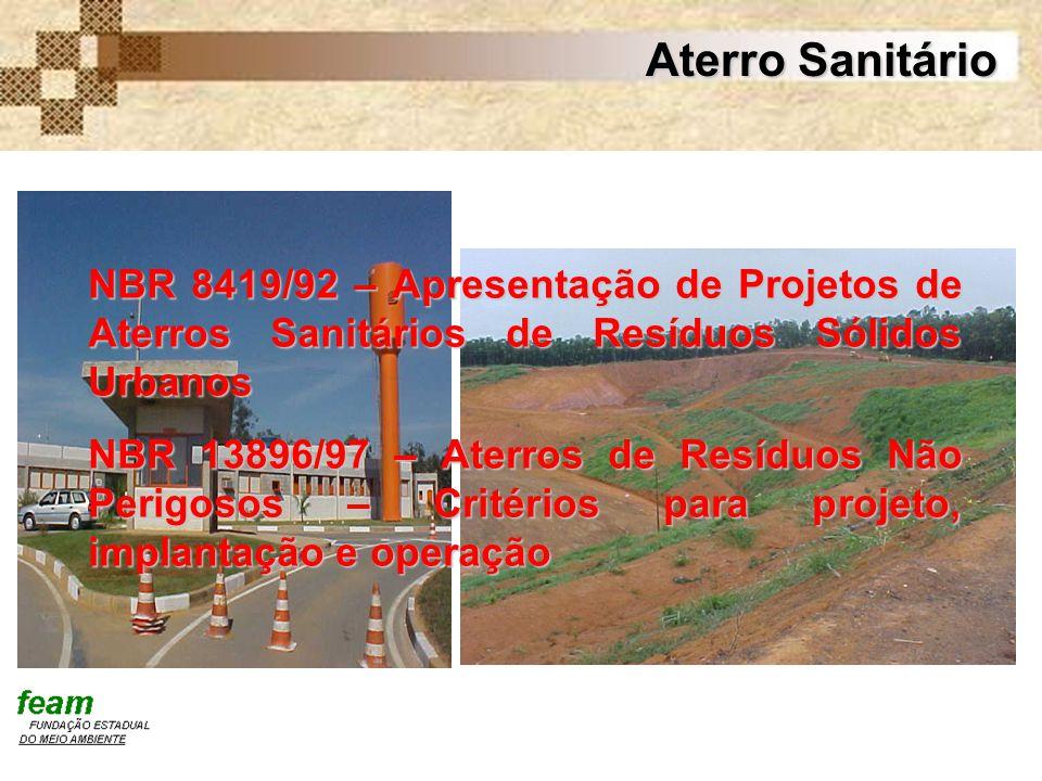 Aterro Sanitário NBR 8419/92 – Apresentação de Projetos de Aterros Sanitários de Resíduos Sólidos Urbanos.