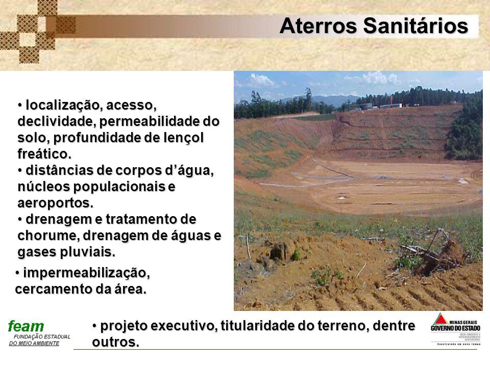 Aterros Sanitários localização, acesso, declividade, permeabilidade do solo, profundidade de lençol freático.
