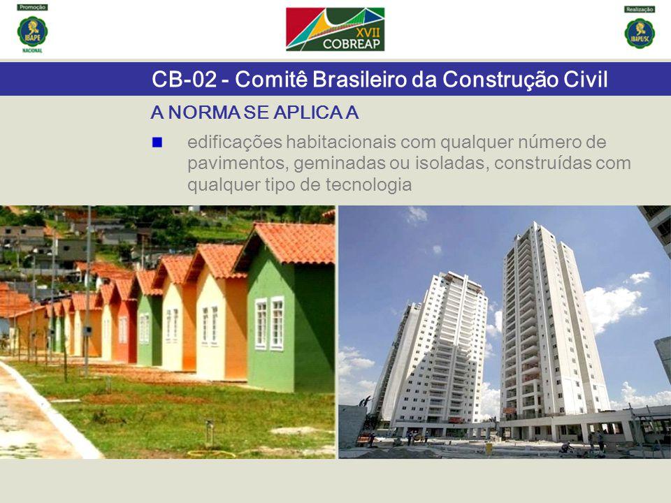 A NORMA SE APLICA A edificações habitacionais com qualquer número de pavimentos, geminadas ou isoladas, construídas com qualquer tipo de tecnologia.