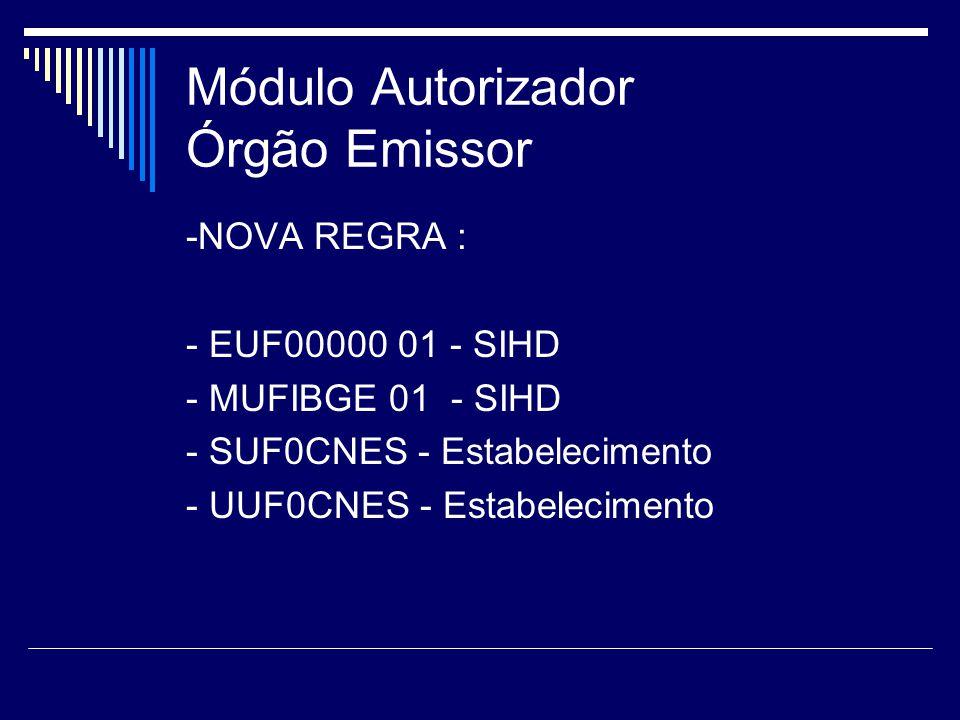 Módulo Autorizador Órgão Emissor