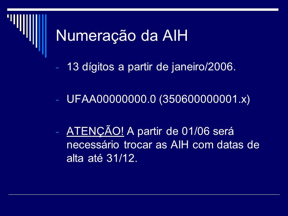 Numeração da AIH 13 dígitos a partir de janeiro/2006.