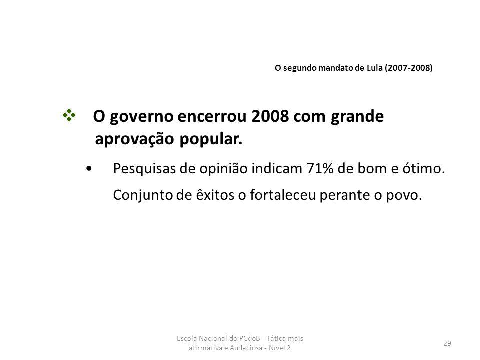 O governo encerrou 2008 com grande aprovação popular.