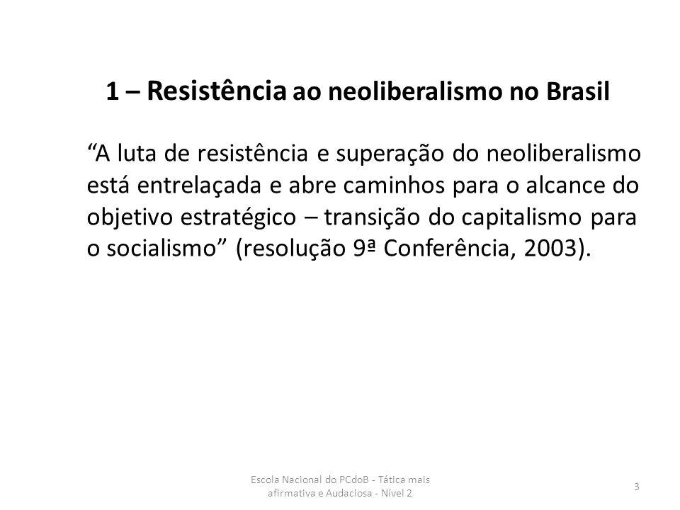 1 – Resistência ao neoliberalismo no Brasil