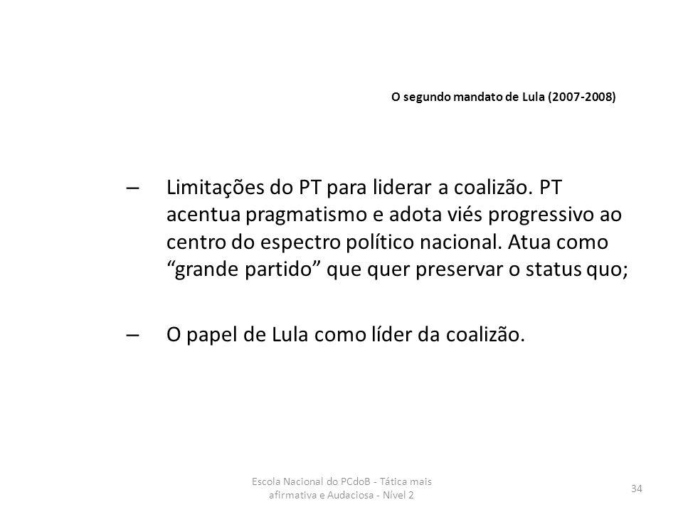O papel de Lula como líder da coalizão.
