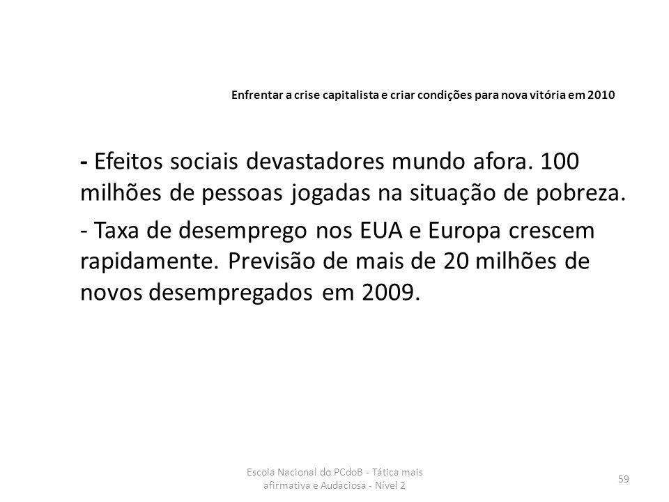 Enfrentar a crise capitalista e criar condições para nova vitória em 2010