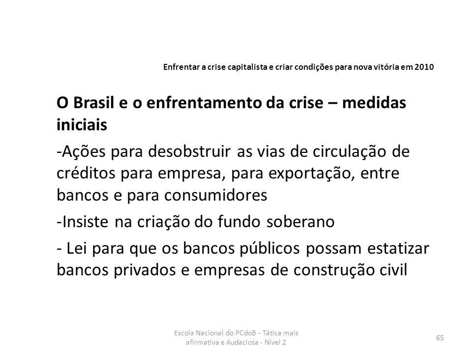 O Brasil e o enfrentamento da crise – medidas iniciais