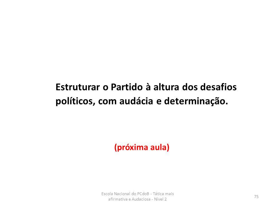 Estruturar o Partido à altura dos desafios políticos, com audácia e determinação. (próxima aula)