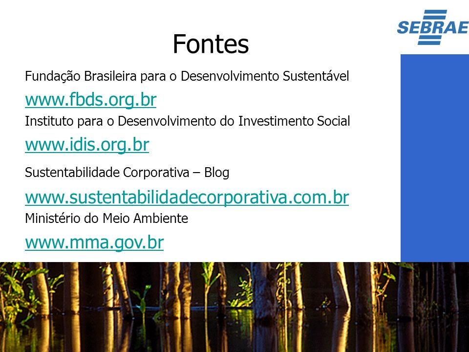 Fontes www.fbds.org.br www.idis.org.br