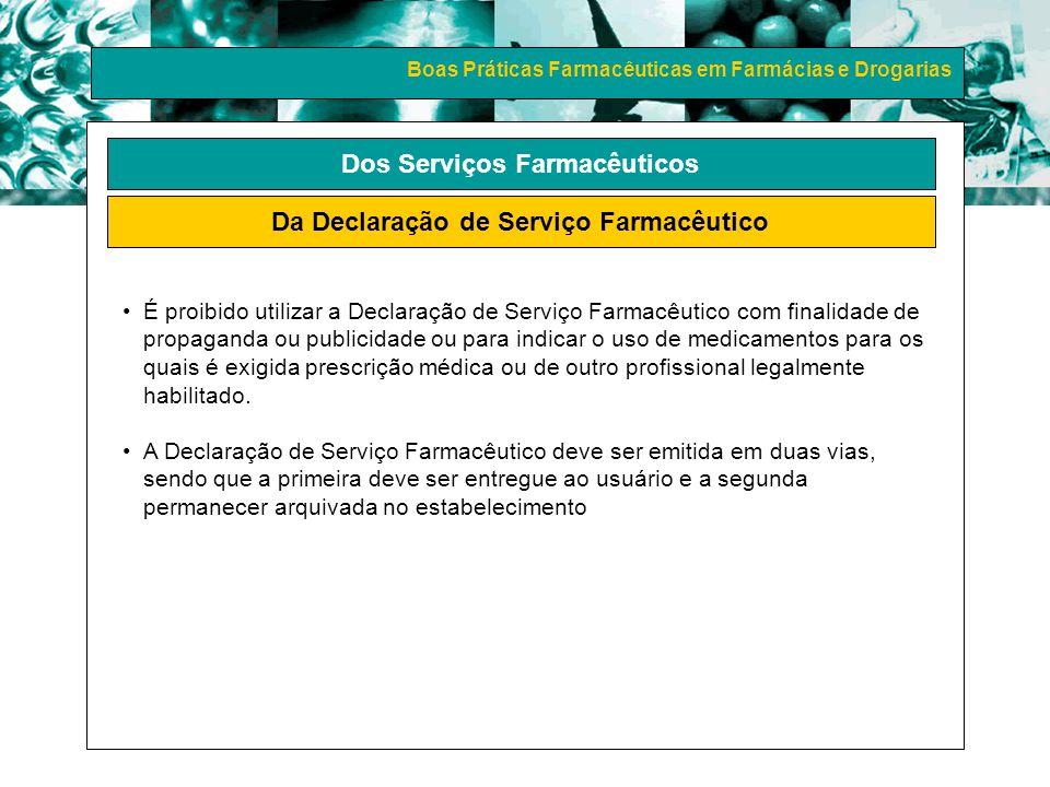 Dos Serviços Farmacêuticos Da Declaração de Serviço Farmacêutico
