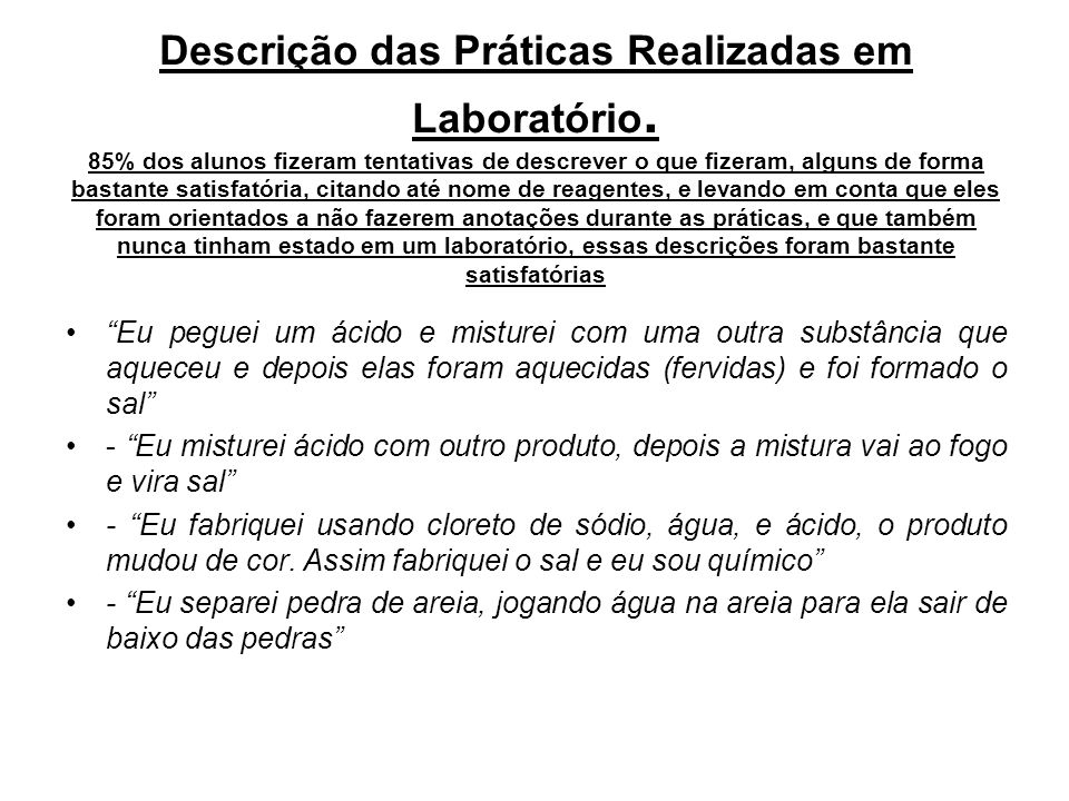 Descrição das Práticas Realizadas em Laboratório