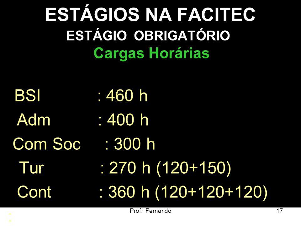 ESTÁGIOS NA FACITEC Adm : 400 h Com Soc : 300 h Tur : 270 h (120+150)