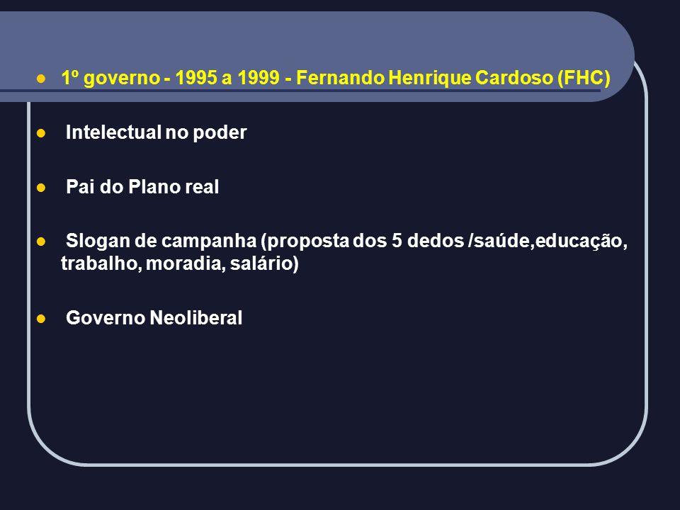 1º governo - 1995 a 1999 - Fernando Henrique Cardoso (FHC)