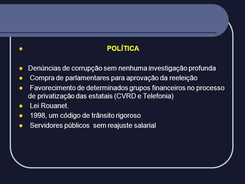 POLÍTICA Denúncias de corrupção sem nenhuma investigação profunda. Compra de parlamentares para aprovação da reeleição.