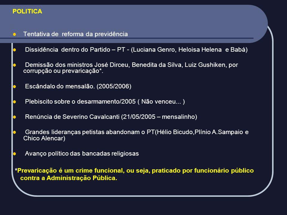 POLITICA Tentativa de reforma da previdência. Dissidência dentro do Partido – PT - (Luciana Genro, Heloisa Helena e Babá)