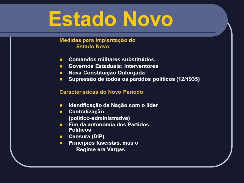 Estado Novo Medidas para implantação do Estado Novo: