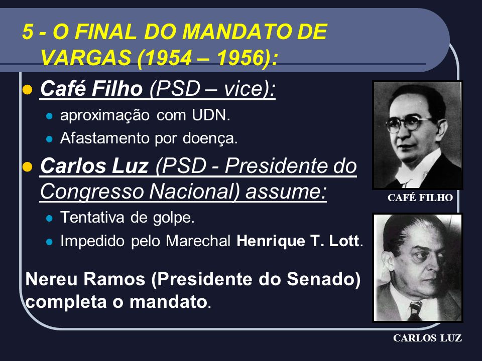 5 - O FINAL DO MANDATO DE VARGAS (1954 – 1956):