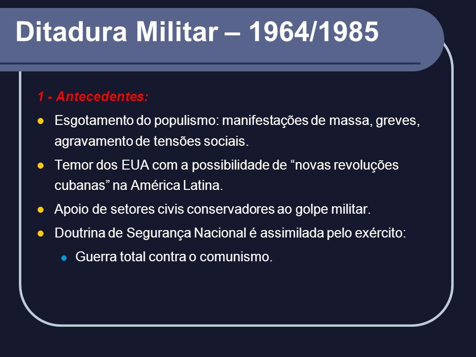 Ditadura Militar – 1964/1985 1 - Antecedentes:
