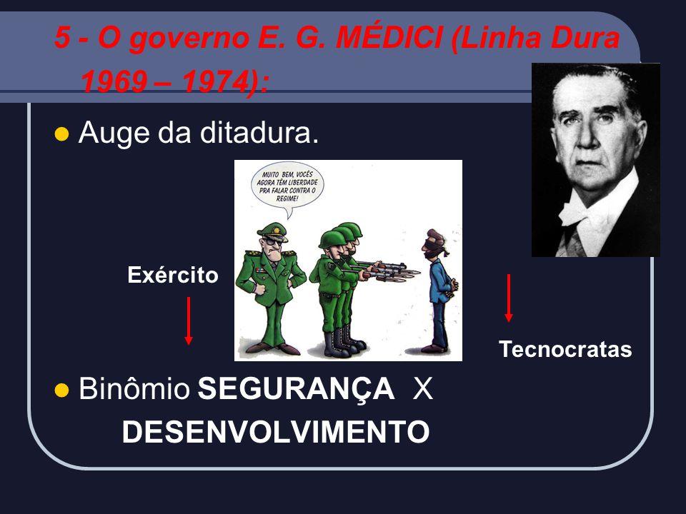 5 - O governo E. G. MÉDICI (Linha Dura 1969 – 1974): Auge da ditadura.