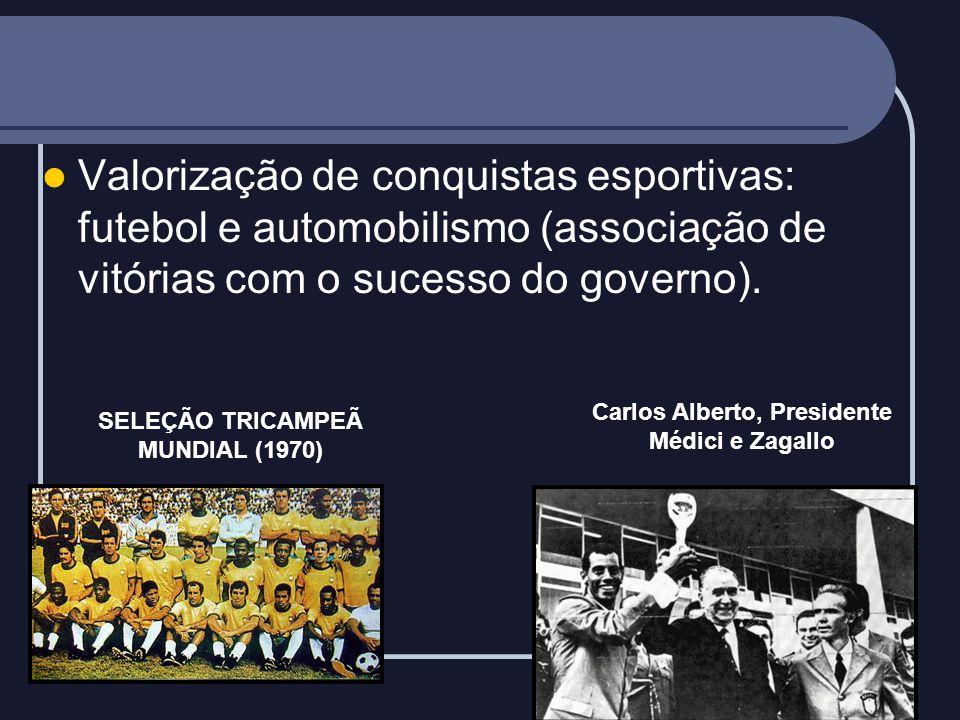 Valorização de conquistas esportivas: futebol e automobilismo (associação de vitórias com o sucesso do governo).