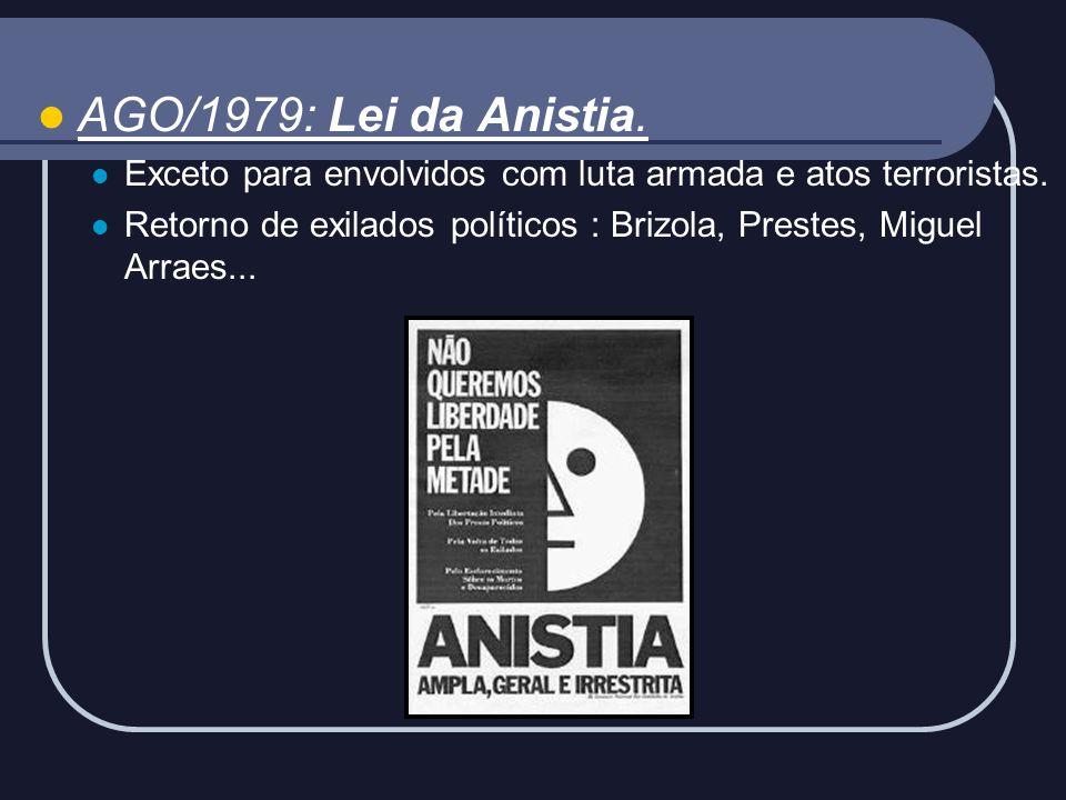 AGO/1979: Lei da Anistia. Exceto para envolvidos com luta armada e atos terroristas.