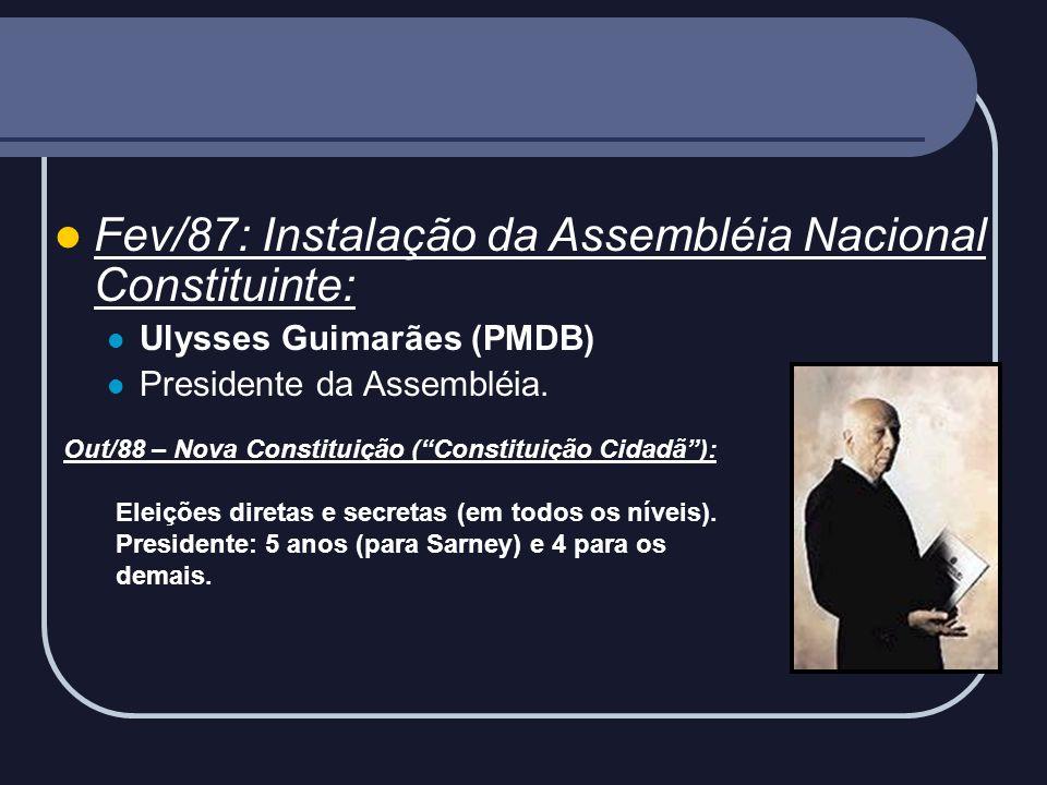 Fev/87: Instalação da Assembléia Nacional Constituinte: