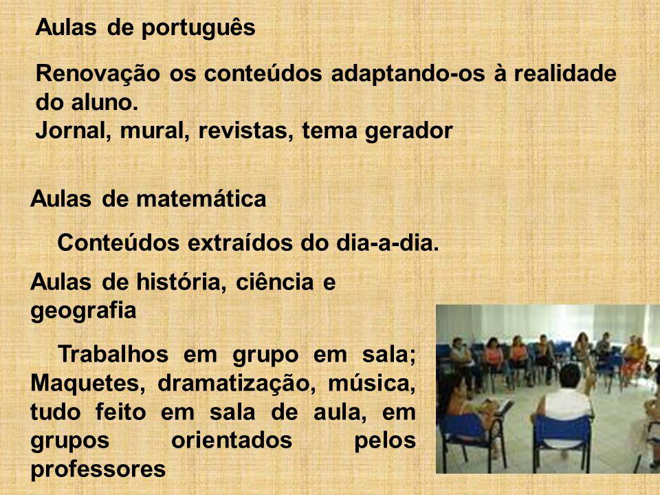 Aulas de português Renovação os conteúdos adaptando-os à realidade do aluno. Jornal, mural, revistas, tema gerador.