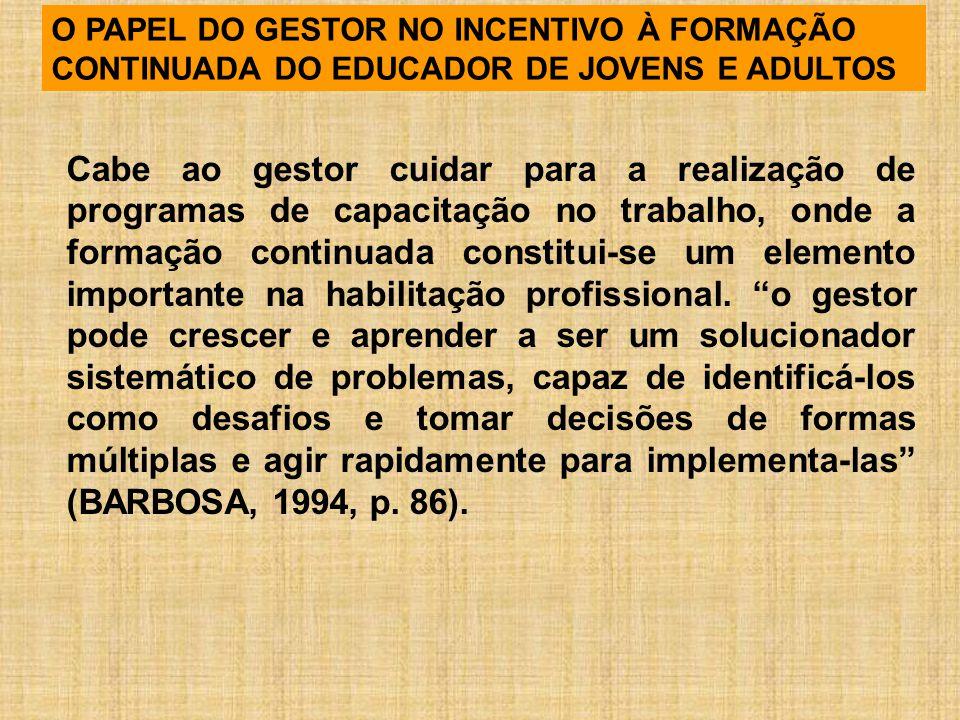 O PAPEL DO GESTOR NO INCENTIVO À FORMAÇÃO CONTINUADA DO EDUCADOR DE JOVENS E ADULTOS