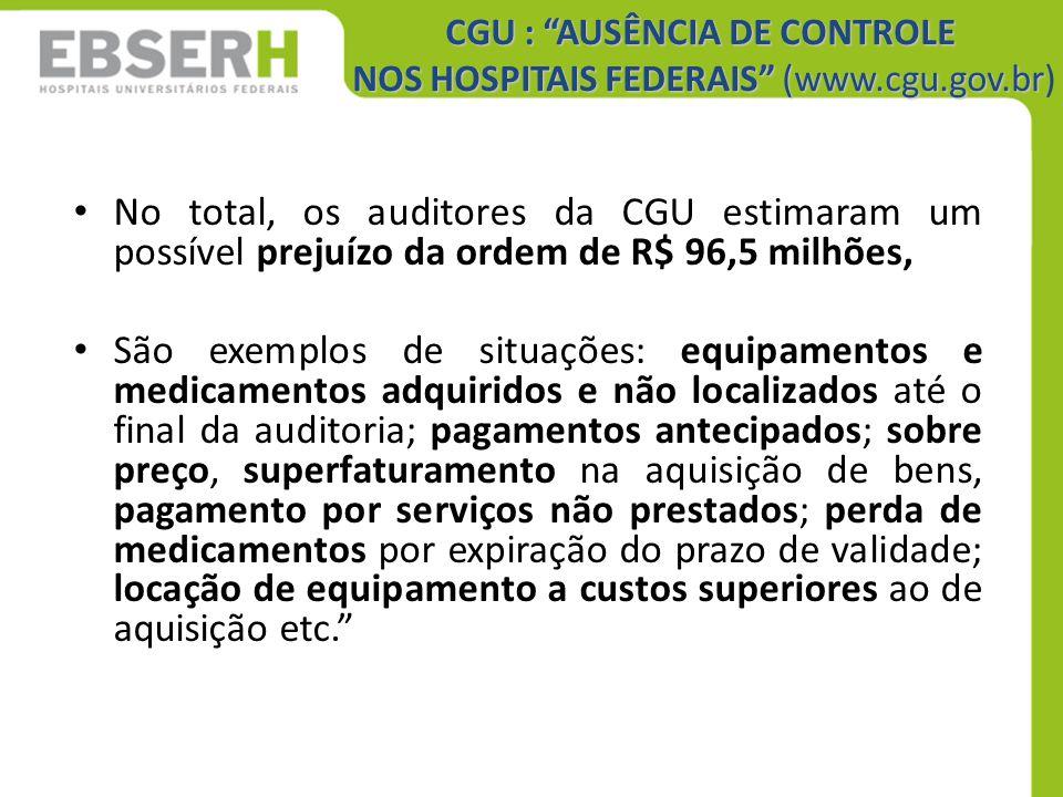 CGU : AUSÊNCIA DE CONTROLE NOS HOSPITAIS FEDERAIS (www.cgu.gov.br)