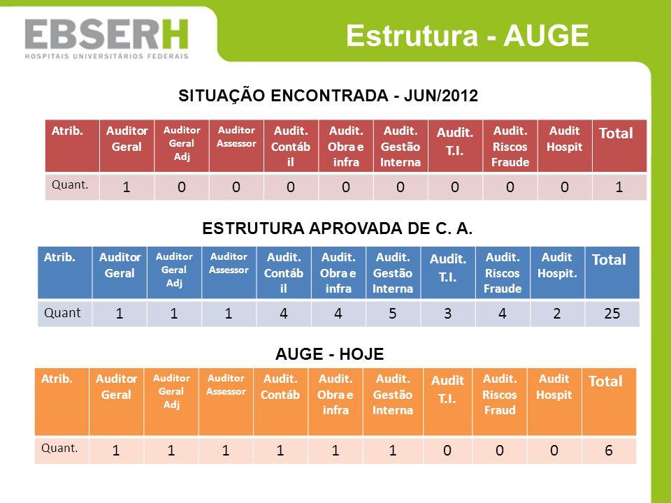 Estrutura - AUGE SITUAÇÃO ENCONTRADA - JUN/2012 Total 1