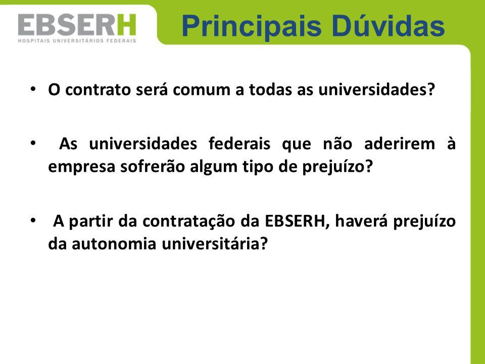 Principais Dúvidas O contrato será comum a todas as universidades