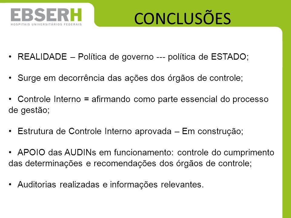 CONCLUSÕES REALIDADE – Política de governo --- política de ESTADO;